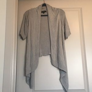 Light gray short sleeve open front sweater